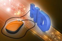 Текст Hd соединенный с мышью компьютера Стоковое фото RF