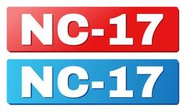 Текст NC-17 на голубых и красных кнопках прямоугольника Иллюстрация штока