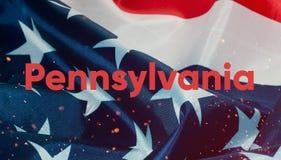Текст PA, флаг Соединенных Штатов Америки Стоковое фото RF