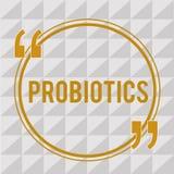 Текст Probiotics почерка Микроорганизм в реальном маштабе времени бактерий смысла концепции, который хозяйничают в тело для своих иллюстрация штока