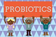 Текст Probiotics почерка Микроорганизм в реальном маштабе времени бактерий смысла концепции, который хозяйничают в тело для своих иллюстрация вектора