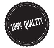 Текст 100%-QUALITY, на черном штемпеле стикера Стоковая Фотография