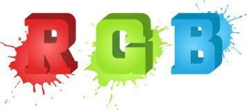 Текст RGB и брызгает на предпосылке иллюстрация штока