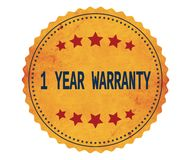 Текст 1-YEAR-WARRANTY, на винтажном желтом штемпеле стикера Иллюстрация вектора