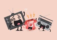 Телевидение и радио были устрашены от звенеть телефона Стоковая Фотография