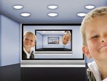 телевидение комнаты Стоковое Фото
