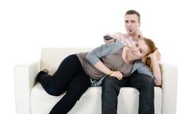 Телевидение пар наблюдая Стоковое Изображение