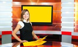 телевидение tv студии ведуща супоросое Стоковые Фото