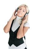 телефоны девушки уха Стоковое фото RF