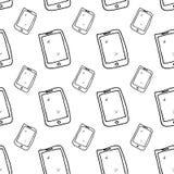 Телефон безшовной руки картины вычерченный Эскиз черноты Doodle r иллюстрация вектора