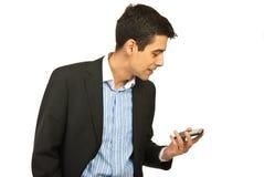 телефон бизнесмена крича к Стоковые Изображения