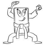 Телефон в стойке карате Смешной мультфильм о мобильном боевике иллюстрация штока