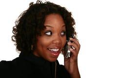 телефон девушки афроамериканца Стоковая Фотография