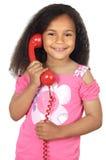 телефон девушки говоря Стоковое Изображение RF