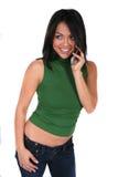 телефон девушки клетки милый Стоковая Фотография