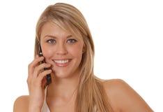 телефон девушки клетки симпатичный Стоковое Изображение