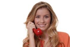 телефон девушки симпатичный Стоковое Изображение