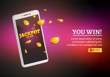 Телефон денег джэкпота умный чеканит большой выигрыш Большой доход зарабатывает передвижной плакат знамени технологии бесплатная иллюстрация