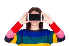 Телефон женщины стоковая фотография