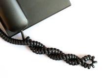 телефон кабеля с черной пропиткой спиральн Стоковое Фото