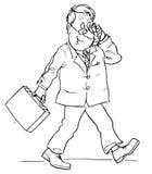 телефон клетчатого клерка говоря Иллюстрация вектора