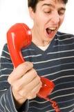 телефон красного цвета приемника Стоковое Изображение