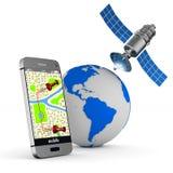 телефон навигации изображения 3d Изолированная иллюстрация 3d Стоковые Фото