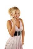 телефон привлекательного звонока женский делая Стоковые Фотографии RF