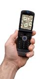 телефон человека удерживания клетки Стоковая Фотография RF