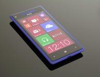 Телефон 8 Windows на отражательной, стеклянной таблице. Стоковые Фото