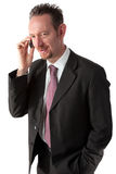 телефон goatee бизнесмена Стоковая Фотография RF
