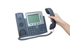 Телефон IP изолированный над белым backgroud Стоковые Фото