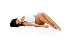 тело женское улучшает загорано стоковое изображение