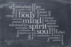 Тело, разум, дух и душа формулируют облако Стоковые Фото