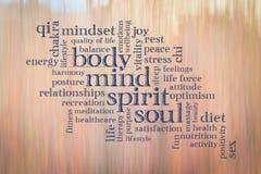 Тело, разум, дух и душа формулируют облако Стоковая Фотография RF