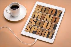Тело, разум, душа и дух на таблетке Стоковая Фотография RF