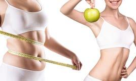 Тело ` s женщины перед и после потерей веса Стоковое фото RF