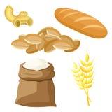 Тематический комплект продуктов питания от пшеницы и муки иллюстрация штока