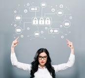 Тема безопасностью электронной почты при бизнес-леди указывая вверх бесплатная иллюстрация