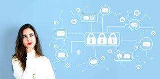 Тема безопасностью электронной почты с молодой женщиной стоковая фотография