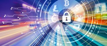 Тема безопасностью Cryptocurrency с высокоскоростной нерезкостью движения иллюстрация штока