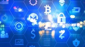 Тема безопасностью Cryptocurrency с городом освещает на ноче Стоковое фото RF