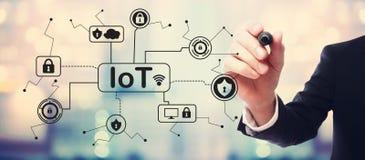 Тема безопасностью IoT с бизнесменом стоковое фото rf