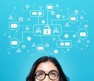 Тема вируса и аферы электронной почты с молодой женщиной стоковое изображение rf