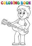 Тема 1 гитариста мальчика книжка-раскраски иллюстрация вектора