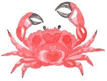 тема голубого морского моря безшовная белизна вектора иллюстрации рака предпосылки Акварель Handpainting иллюстрация вектора