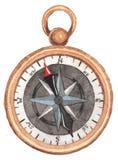 тема голубого морского моря безшовная макрос компаса предпосылки близкий вверх по белизне Акварель Handpainting иллюстрация вектора