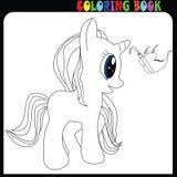 Тема единорога, лошади или пони младенца книжка-раскраски молодая с бабочкой бесплатная иллюстрация