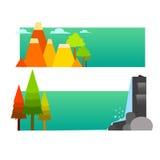 Тема леса шаблона сети знамени Стоковая Фотография RF