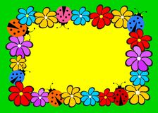 Тема детей с цветками и ladybirds Стоковые Изображения RF